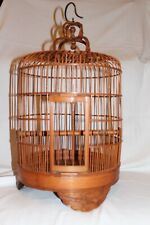 Bird Cage Chinese Eagle Carved Bamboo Vintage