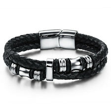 Fashion Mens Braided PU Leather Stainless Steel Cuff Bangle Bracelet Wristband s