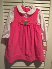 Petit Ami Pink Cord Smocked Tab Girls Dress Boutique Holiday Christmas