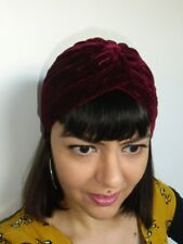 Bonnet original turban stretch velours rouge rubis épais pinup rétro glamour