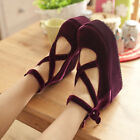 Womens Buckle Pumps Mary Jane Lolita Cross Strap High Heel Creeper Platform Shoe