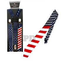New Awesome USA Flag Design NeckTie & Suspender Set Combo- Blue, Red & White
