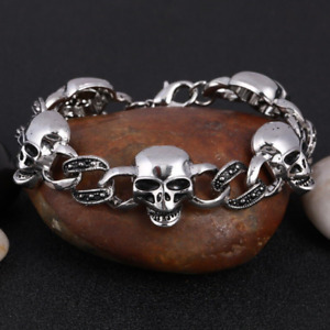 Men Fashion Punk Long Skull Bracelets Male Stainless Steel Charm Link Chain