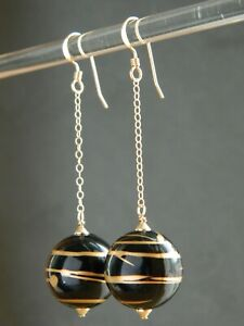 Vintage 1980's Large Black & Gold Lucite Beads & Rolled Gold Long Drop Earrings
