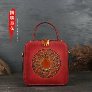 Womens Retro Classic Genuine Leather Handbags Emboss Small Square Shoulder Bag