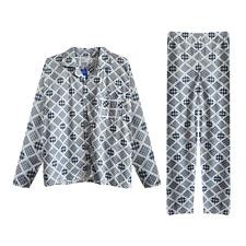 Schlafanzug Pyjama Herren lang Männer Set Langarm  kariert geknöpft M-2XL  NEU