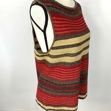 Lauren Ralph Lauren Womens Petite L Linen Silk Vest Red Brown Beige Stripe