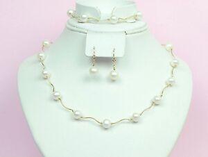 14k Yellow Gold Natural White Pearls Necklace, Bracelet, Earrings 3pcs Women Set