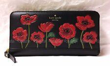 Kate Spade PWRU6018 Ooh La La POPPY Applique Lacey Zip Wallet BLACK RED NWT