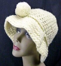 Vintage Ivory Chunky Winter Hat Acrylic Hand-Crochet Cloche Pom Bucket NOS