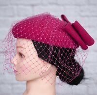 Vintage Hat Pink Pill Box Face Veil Bow Felt 1980s 1950s Victorian Goodwood