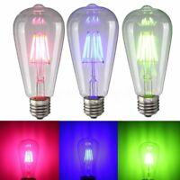 ST64 2W 4W 6W COB LED Retro Edison Bulbs E27 Screw Filament Colorful Light