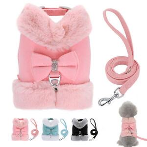 Cute Bow Fleece Dog Harness and Leash set Pet Puppy Vest Jacket with Warm Collar