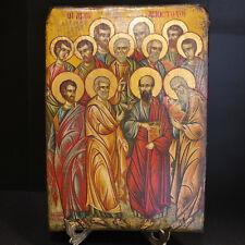 Greek Orthodox Byzantine Handpainted Icon on old wood of Saint Apostols 23x32cm