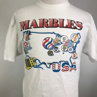VTG DON'T LOSE YOUR MARBLES USA MADE FUNNY TRAVEL SINGLE STITCH WHITE T SHIRT XL