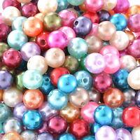 HS 300 Mix Rund Acryl Perlen Beads Kunststoffperlen Kugeln Wachsperlen 8mm