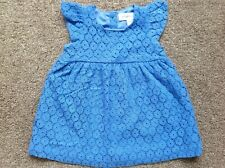 Pumpkin Patch Baby Girl Blue Floral Lace Dress Size 00 3-6 Months As New!