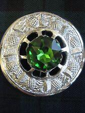 "NEW Large Scottish Green Stone 3"" Brooch Chrome Finish Kilt Fly/Piper Plaid"