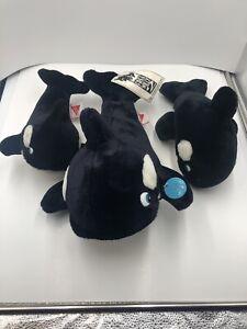 "Lot of 3 Dakin Free Willy 2 Plush Movie 1995 17"" Killer Whale Stuffed Animal"