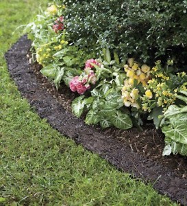 Plow & Hearth 55632 Recycled Rubber Permanent Garden Mulch Border, 120 L x 4.50