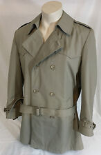 Vintage London Fog Trench Rain Coat Double Breasted w/ Belt Tan Men's 44 Regular