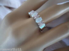 Antique Art Deco Vintage White Gold Opal Ring Opals and Sapphires size 9 or S
