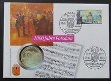 "Numisbrief 1000 Jahre Potsdam, m. Mi.1680 u. 10 Mark Silbermünze ""F"""