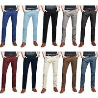Mens Smart Fit Cotton Stretch Chino Tapered Slim Leg Slanted Front Pockets Pants