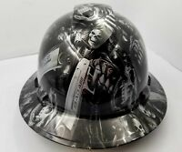 FULL BRIM Hard Hat custom hydro dipped SILVER  N BLACK GRIM REAPER SHOOTER SKULL