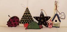 Lot of 6 Wooden Christmas Ornaments egg ladybug star tree