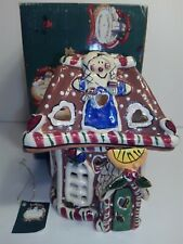 Blue Sky Claywork Gingerbread Cookie House Light Candle Holder New