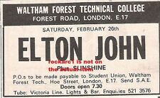 ELTON JOHN UK TIMELINE Advert - Waltham College London Fri 26t-Feb-1972 #2 3x1""