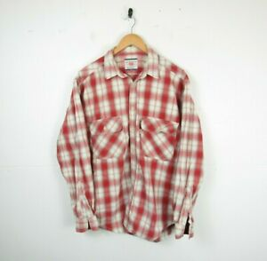 Mens Levi's 80s 90s Vintage Western Red Check pattern Shirt Chore Workwear   L