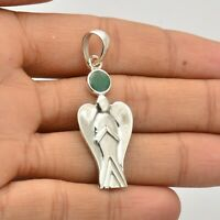 Emerald Gemstone Pendant 925 Solid Sterling Silver Handmade Indian Jewelry