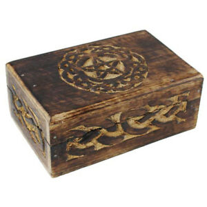 """NEW Celtic Circle Pentagram Box 4x6"""" Wooden Tarot Herb Chest Carved Wood"""