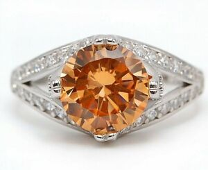 SALE 4CT Padparadscha Sapphire 925 Solid Sterling Silver Ring Jewelry Sz 6 M14