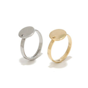 20pcs Gold/Silver Stainless Steel Round Flat Ring Base Adjustable Ring Settings