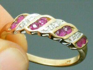 9ct Gold Ruby & Diamond Hallmarked Eternity ring size O