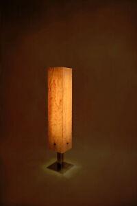 Design Tischleuchte Holzlampe Vogelaugenahorn Birdseye Furnier