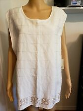 Sherry Taylor Women's Top NWT Zipper Beaded Scoop Neck Sleeveless Lined Size 3X