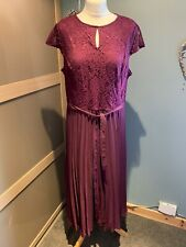 Dorothy Perkins Burgundy Pleated Maxi Dress Size 14