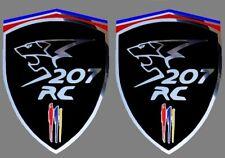 2 adhésifs sticker noir chrome PEUGEOT 207 RC (idéal ailes avant)