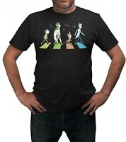 Rick & Morty Abbey Road T-Shirt Adults Sizes Black 100% Cotton Shirt