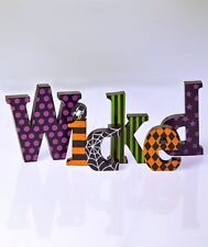 BLOCK LETTER SIGN WICKED WITCH HALLOWEEN BAR KITCHEN TABLE SHELF HOME DECOR