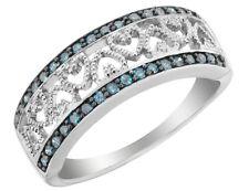 Голубой бриллиант сердце кольцо 1/4 карат в серебре