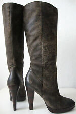 Frye Harlow Campus Bottes Femmes Cuir Talons Hauts Luxe Boots Marron Taille 37/7 m NEUF
