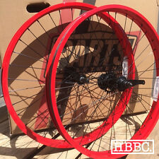 "BICYCLE RIMS 26""x 50MM RED SINGLE SPEED WHEEL SET BEACH CRUISER BIKE"