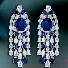 9Ct Round Pear Blue Sapphire Simulnt Diamond Chandelier Earrings Silver Gold FNS