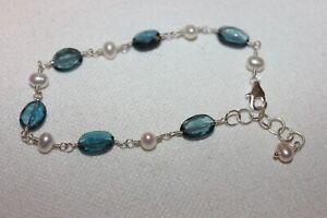 Beautiful London Blue Topaz Bracelet, Sterling Silver, Hand Made USA Free Ship B