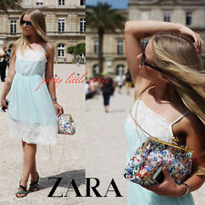 ZARA BLUE CREAM FLORAL LACE SLIP LINGERIE STRAPPY SHORT MINI DRESS S BLOGGERS